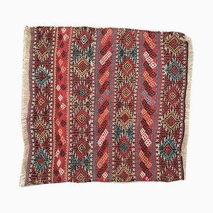 Vintage Turkish Shabby Woolen Kilim Rug 95x93cm