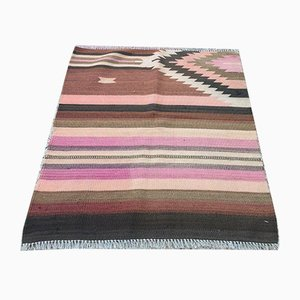 Vintage Turkish Shabby Woolen Kilim Rug 90x77cm