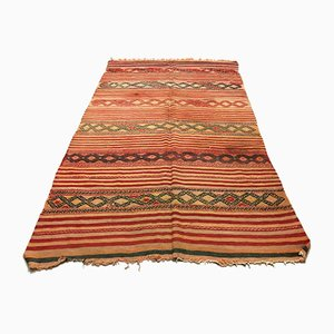Large Vintage Turkish Moroccan Shabby Wool Kilim Rug 266x160 cm