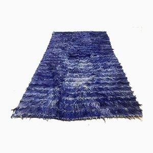 Tapis Vintage Bleu en Laine Shabby 200 x 125 cm