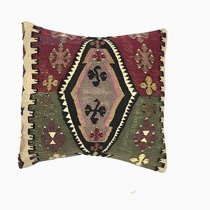 Housse de Coussin Kilim Vintage en Laine Colorée, Maroc