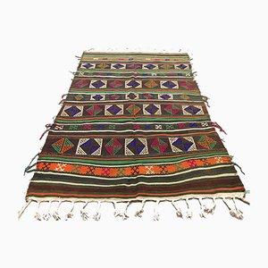 Large Vintage Turkish Moroccan Shabby Wool Kilim Rug 218x145 cm