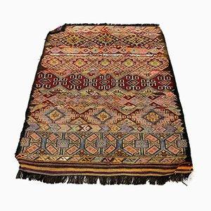 Small Vintage Turkish Moroccan Shabby Wool Kilim Rug 116x94 cm