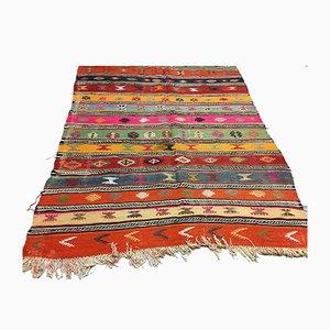Large Vintage Turkish Shabby Wool Kilim Rug 290x166 cm
