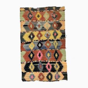 Large Vintage Turkish Colorful Wool Kilim Rug 320x195 cm