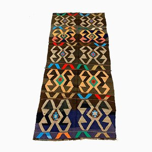 Large Vintage Turkish Colorful Wool Kilim Rug 302x140 cm