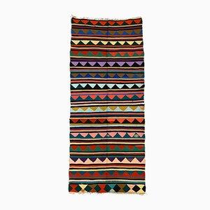 Large Vintage Turkish Colorful Wool Kilim Rug 290x123 cm
