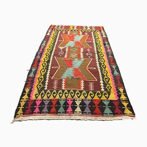Vintage Turkish Medium Sized Colorful Shabby Kilim Rug 195x109cm