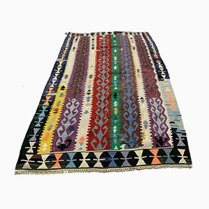 Vintage Turkish Medium Sized Colorful Shabby Kilim Rug 165x102 cm