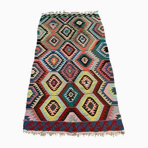 Large Vintage Turkish Colorful Shabby Wool Kilim Rug 236x136 cm
