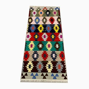 Large Vintage Turkish Colorful Shabby Wool Kilim Rug 270x123 cm