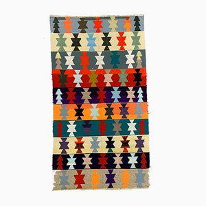 Large Vintage Turkish Colorful Wool Kilim 275x150 cm