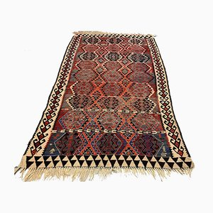 Vintage Turkish Moroccan Medium Sized Shabby Wool Kilim Rug 201x123 cm