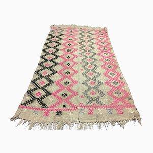 Türkischer Mittelgroßer Vintage Shabby Kilim Teppich aus Mahagoni, 187x101cm