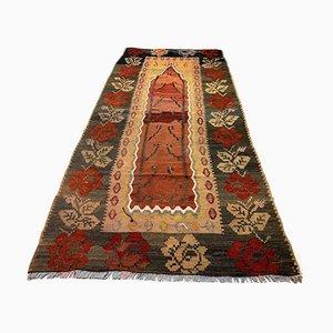 Vintage Turkish Medium Sized Shabby Kilim Prayer Rug 215x100 cm
