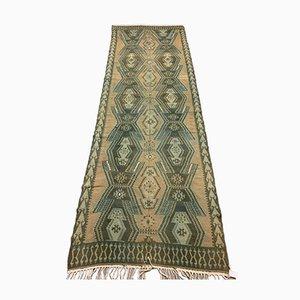Vintage Turkish Wool Kilim Runner Rug 395x132 cm