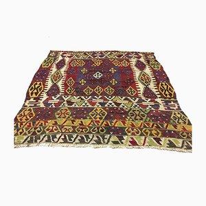 Large Vintage Turkish Moroccan Square Shabby Wool Kilim Rug 180x180cm