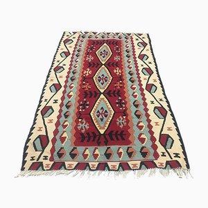 Türkischer Vintage Kelim Teppich mit Schusssystem 155x93cm in mittlerer Größe