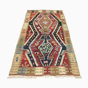 Small Vintage Turkish Shabby Wool Kilim Rug 157x87cm
