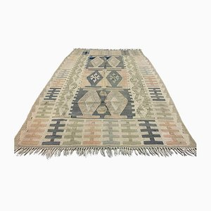 Vintage Turkish Medium Sized Shabby Wool Kilim Rug 163x100 cm