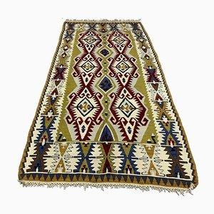 Türkischer Vintage Kilim Wollteppich mit schubbeliger Weste 220x105 cm