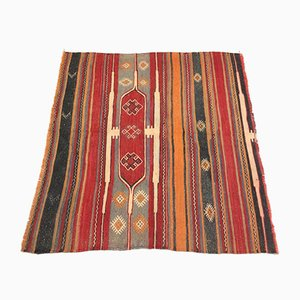 Vintage Turkish Moroccan Medium Sized Square Shabby Wool Kilim Rug 141x135cm