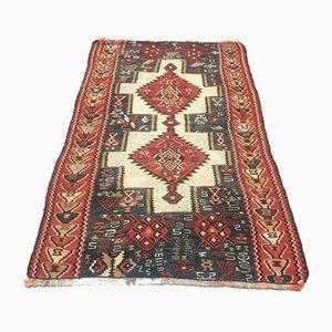 SMall Türkischer Vintage 1301 Kelim Teppich mit schäbiger Wolle