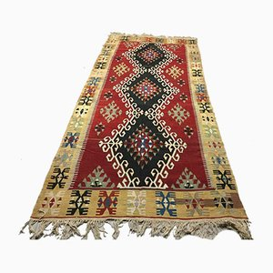 Large Vintage Turkish Shabby Wool Kilim Rug 328x146