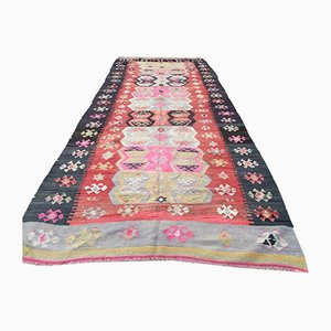 Vintage Turkish Shabby Wool Kilim Rug 386x158 cm