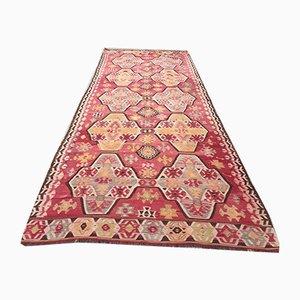 Vintage Turkish Shabby Wool Kilim Rug 370x145 cm