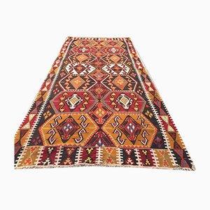 Türkischer Vintage Kelim-Teppich mit schäbiger Wolle 358x164 cm