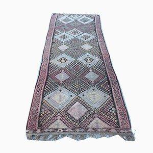 Vintage Turkish Shabby Wool Kilim Rug 335x115 cm