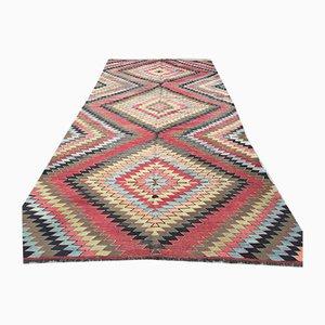 Vintage Turkish Shabby Wool Kilim Rug 338x168 cm