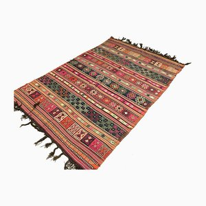 Large Vintage Turkish Kilim Shabby Wool Rug 235x148 cm