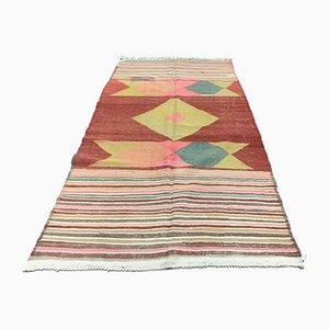 Large Vintage Turkish Kilim Shabby Wool Rug 260x145 cm