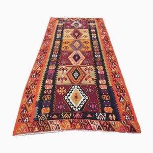 Vintage Turkish Kilim Shabby Wool Rug 256x116 cm