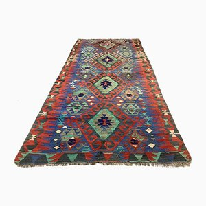 Vintage Turkish Kilim Shabby Wool Rug 258x134 cm