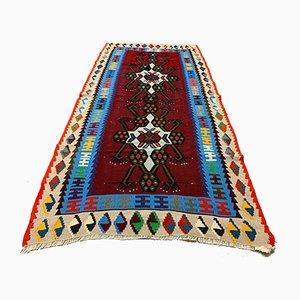 Vintage Turkish Kilim Medium Sized Shabby Wool Rug 192x95 cm