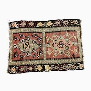 Vintage Turkish Kilim Medium Sized Shabby Wool Rug 158x112 cm
