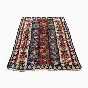 Small Vintage Turkish Square Shabby Kilim Rug 97x83 cm
