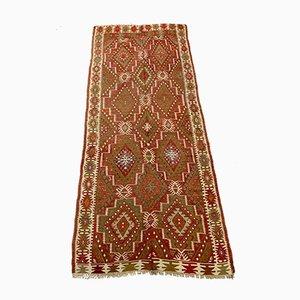Großer türkischer Vintage Kilim Läufer aus Wolle 348x144 cm