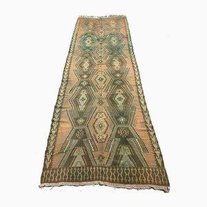 Large Vintage Turkish Wool Kilim Runner Rug 405x136 cm