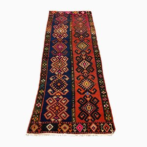 Large Vintage Turkish Red and Navy Wool Kilim Runner Rug 264x110 cm