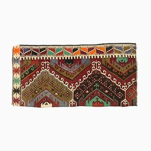 Small Vintage Turkish Shabby Kilim Rug 145x73 cm