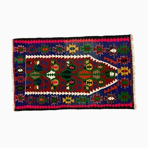 Small Vintage Turkish Shabby Kilim Rug 141x87 cm