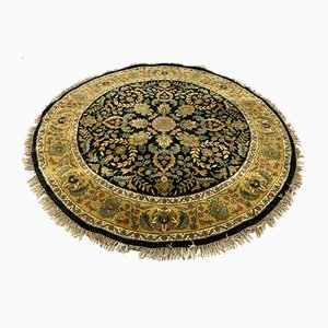 Vintage Indian Navy & Gold Round Agra Rug