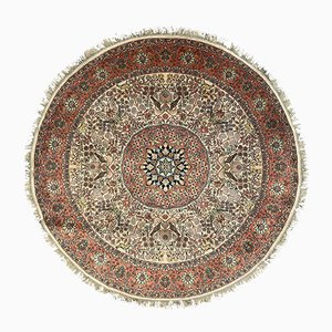 Vintage Indian Round Beige, Green and Pink Silk Rug 220 cm