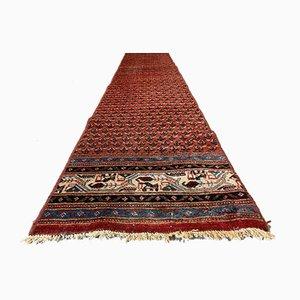 Langer Schmaler Handgefertigter Stammes-Teppich aus Gemustertem Wolle 370x61 cm