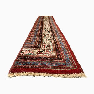 Vintage Long Narrow Vegetable Dye Wool Handmade Tribal Runner Rug 370x43 cm