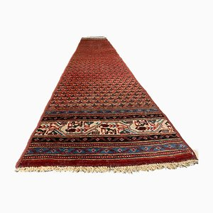 Vintage Long Narrow Vegetable Dye Wool Handmade Tribal Runner Rug 366x60 cm